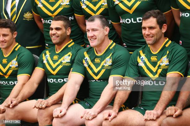 Greg Inglis Paul Gallen and Cameron Smith pose during an Australian Kangaroos Rugby League World Cup teamphoto session at Crowne Plaza Coogee on...