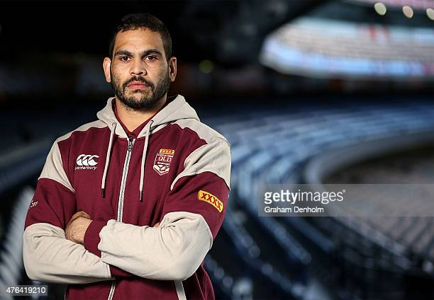 Greg Inglis poses during the Queensland Maroons State of Origin team announcement at Melbourne Cricket Ground on June 9 2015 in Melbourne Australia