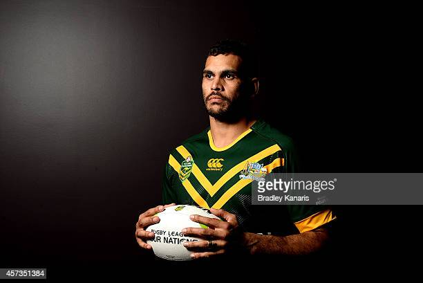 Greg Inglis poses for a photo during an Australian Kangaroos Four Nations media session at the Sofitel Hotel on October 17 2014 in Brisbane Australia