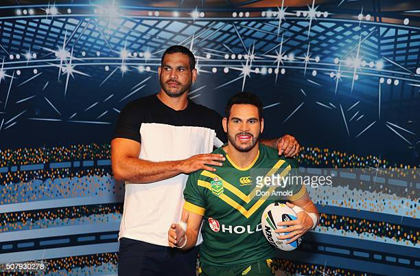 Greg Inglis poses with his wax model at Madame Tussauds on February 2 2016 in Sydney Australia