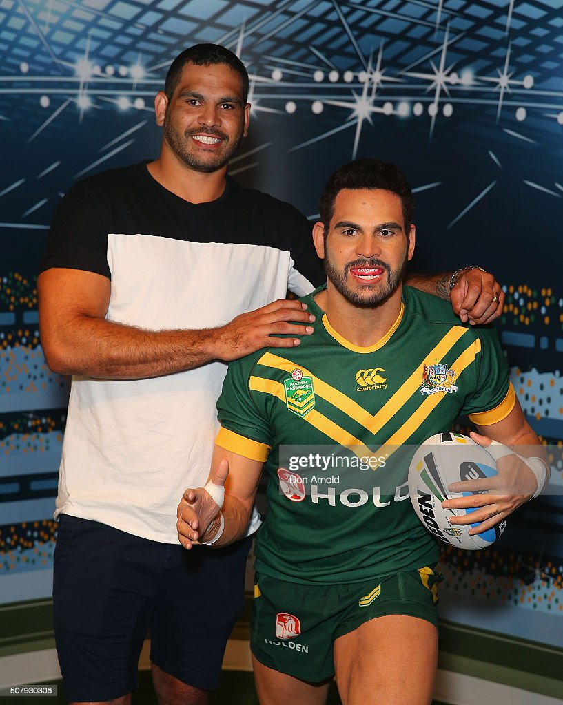 Greg Inglis poses with his wax model at Madame Tussauds on February 2, 2016 in Sydney, Australia.