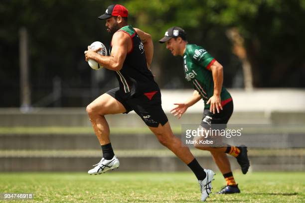 Greg Inglis runs during a South Sydney Rabbitohs NRL Training Session at Redfern Oval on March 20 2018 in Sydney Australia