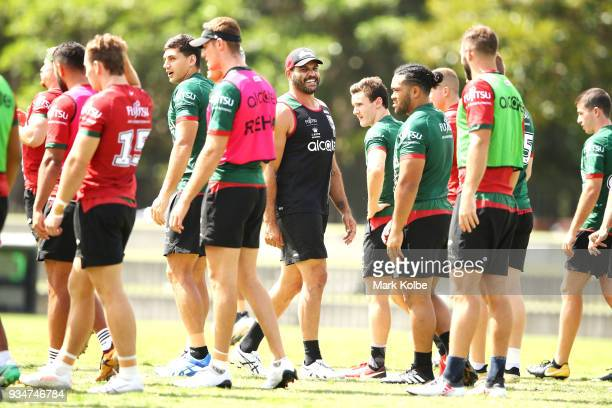 Greg Inglis shares a joke with his team mates during a South Sydney Rabbitohs NRL Training Session at Redfern Oval on March 20 2018 in Sydney...