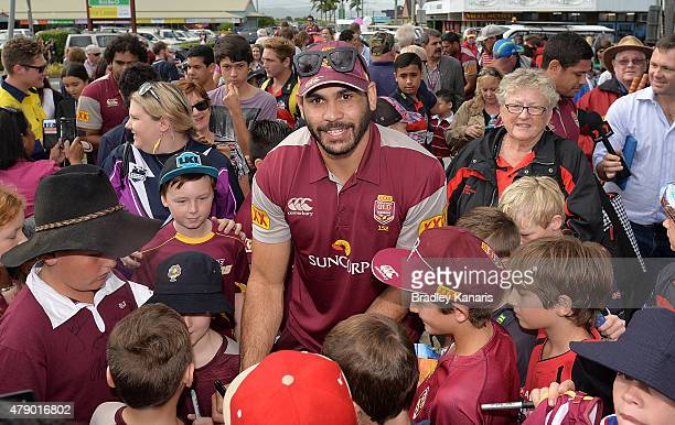 Greg Inglis signs autographs for fans during the Queensland Maroons State of Origin fan day on June 30 2015 in Proserpine Australia