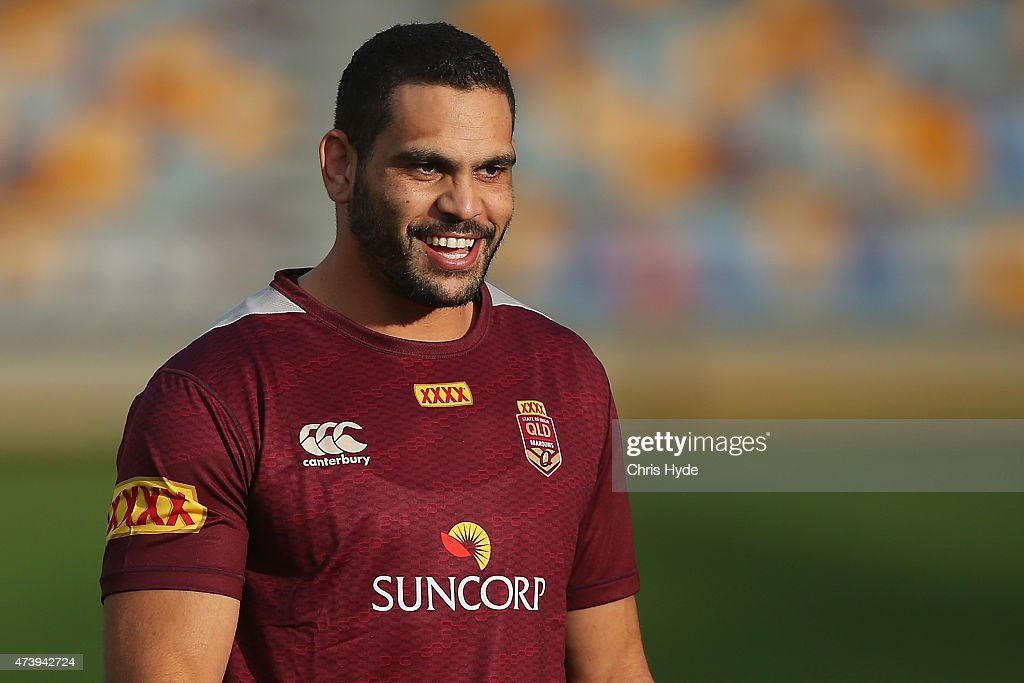 Greg Inglis smiles during a Queensland Maroons State of Origin training session at Queensland Sport and Athletics Centre on May 19, 2015 in Brisbane, Australia.