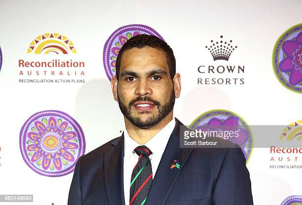 Greg Inglis South Sydney Rabbitohs NRL captain poses during the launch of Crown Resorts' second Reconciliation Action Plan on July 31 2015 in...