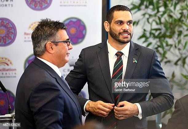 Greg Inglis South Sydney Rabbitohs NRL captain speaks with Andrew Demetriou Director of Crown Resorts during the launch of Crown Resorts' second...