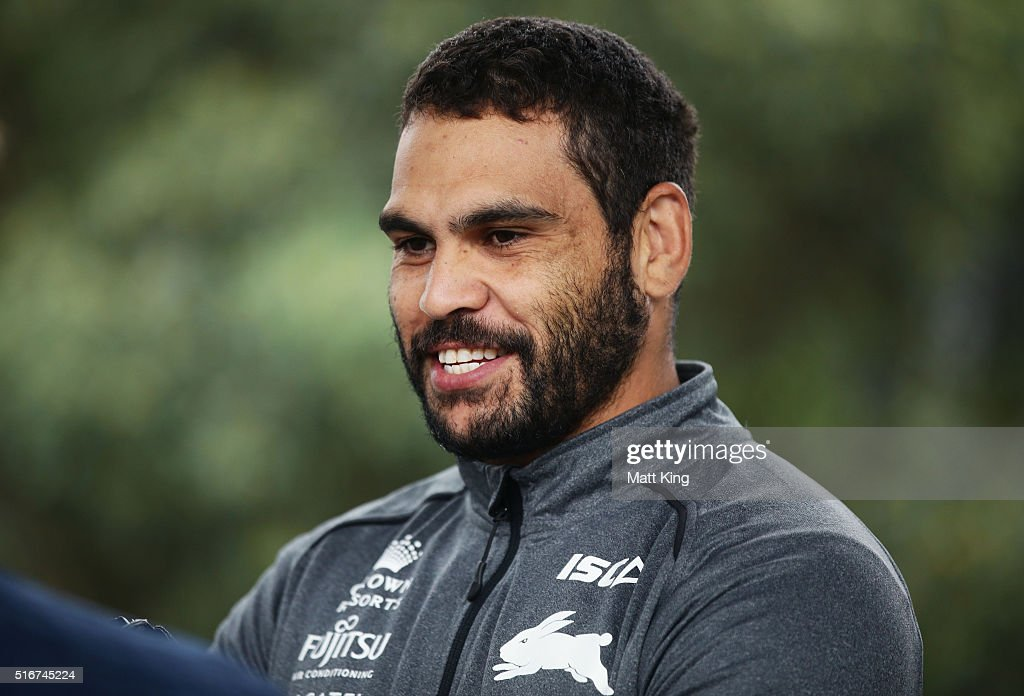 Greg Inglis speaks to the media during a South Sydney Rabbitohs NRL media session at Redfern Oval on March 21, 2016 in Sydney, Australia.