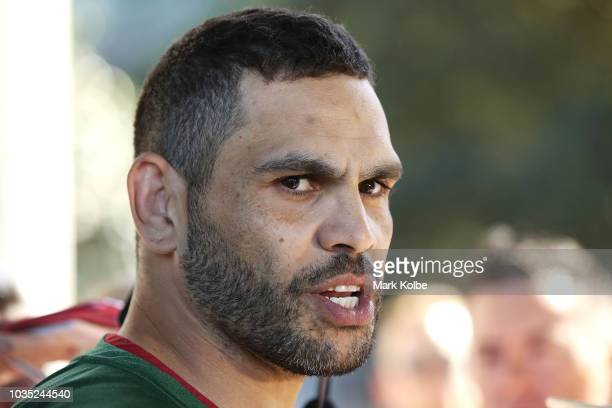 Greg Inglis speaks to the press during a South Sydney Rabbitohs NRL media opportunity at Redfern Oval on September 18 2018 in Sydney Australia