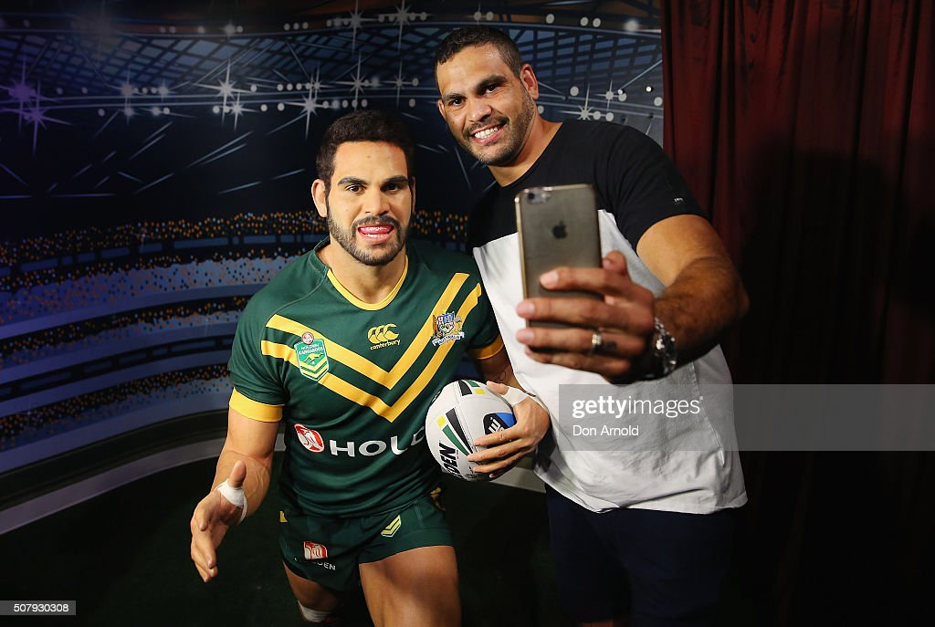 Greg Inglis takes a selfie with his wax model at Madame Tussauds on February 2, 2016 in Sydney, Australia.