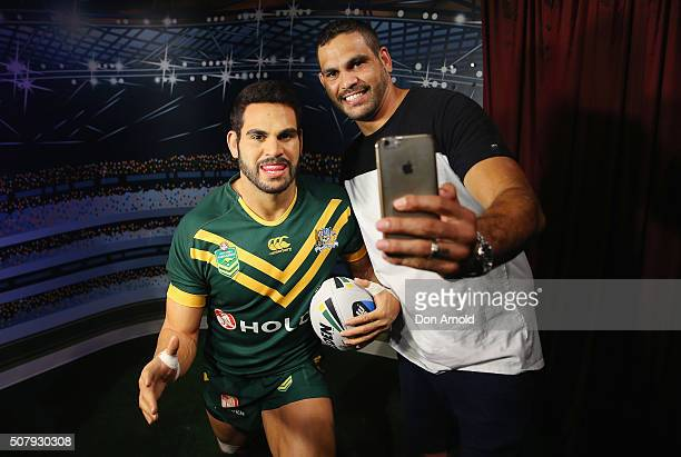 Greg Inglis takes a selfie with his wax model at Madame Tussauds on February 2 2016 in Sydney Australia