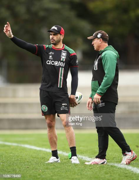 Greg Inglis talks to assistant coach David Furner during a South Sydney Rabbitohs NRL training session at Redfern Oval on September 5 2018 in Sydney...