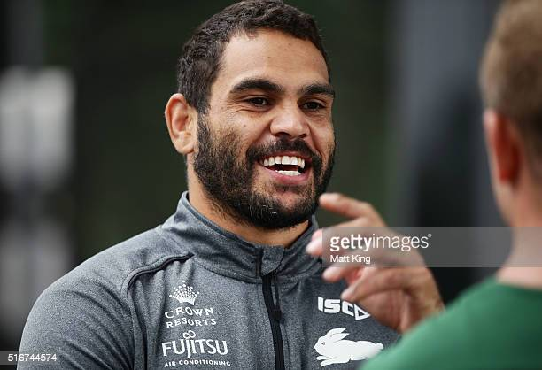 Greg Inglis talks to team mates during a South Sydney Rabbitohs NRL media session at Redfern Oval on March 21 2016 in Sydney Australia