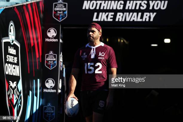 Greg Inglis walks onto the field during the Queensland Maroons State of Origin captain's run at ANZ Stadium on June 23 2018 in Sydney Australia