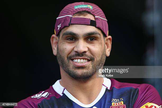 Greg Inglis walks out to the field for a Queensland Maroons State of Origin training session at ANZ Stadium on May 26 2015 in Sydney Australia