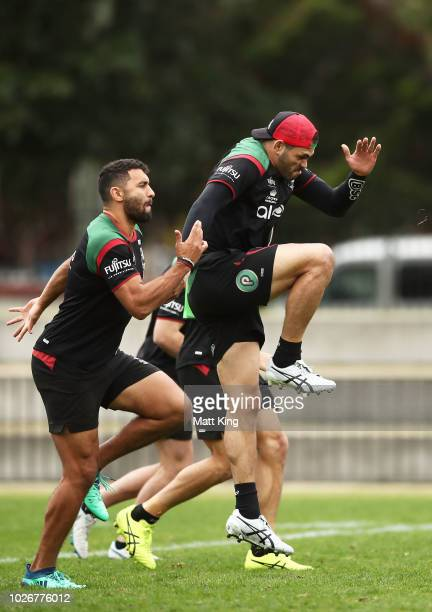 Greg Inglis warms up during a South Sydney Rabbitohs NRL training session at Redfern Oval on September 5 2018 in Sydney Australia
