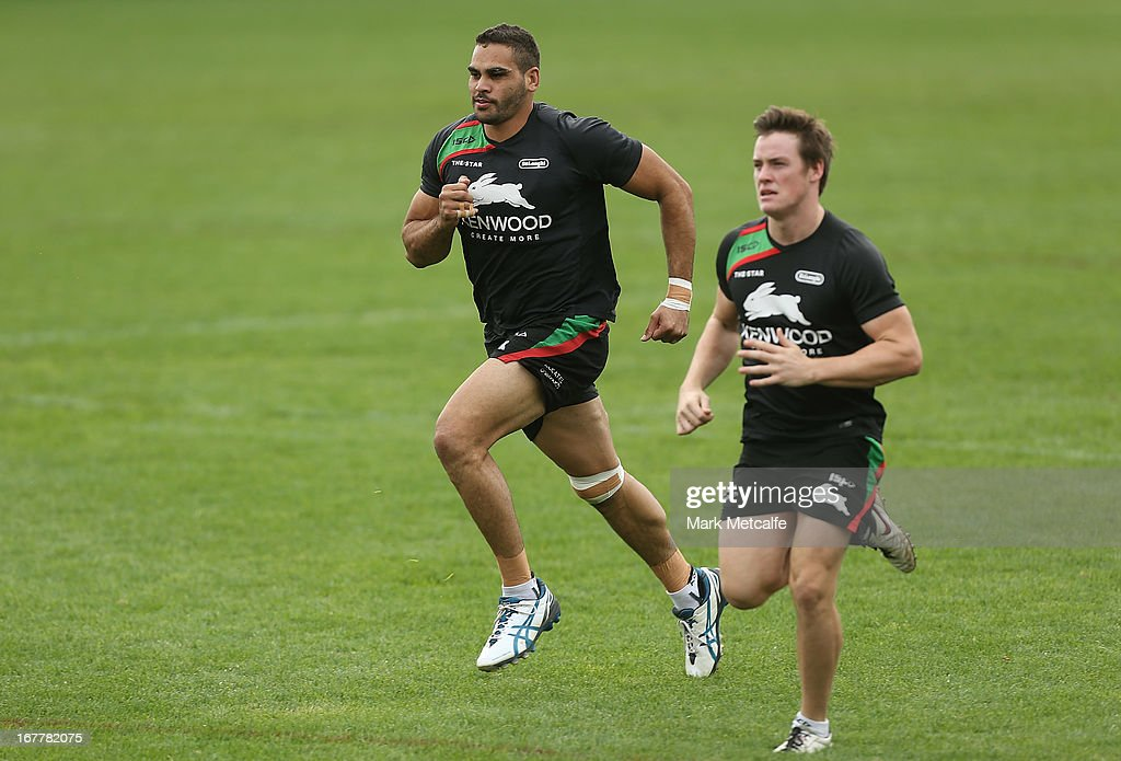 Greg Inglis warms up during a South Sydney Rabbitohs NRL training session at Redfern Oval on April 30, 2013 in Sydney, Australia.