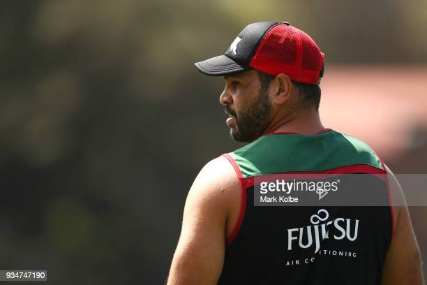 Greg Inglis watches on during a South Sydney Rabbitohs NRL Training Session at Redfern Oval on March 20 2018 in Sydney Australia