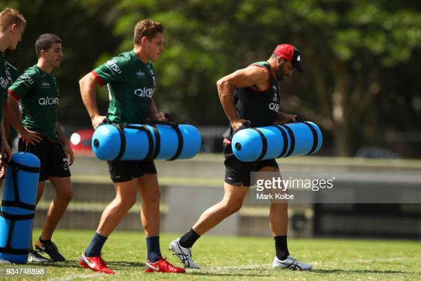 Greg Inglis works in a drill during a South Sydney Rabbitohs NRL Training Session at Redfern Oval on March 20 2018 in Sydney Australia