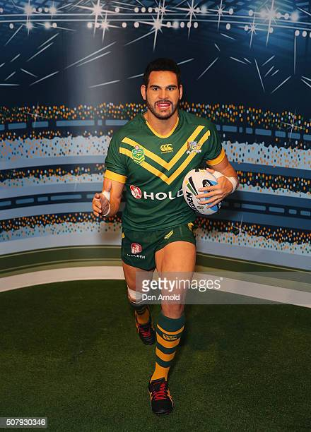 Greg Inglis's wax model is displayed at Madame Tussauds on February 2 2016 in Sydney Australia