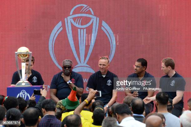 Greg James Clive Lloyd Allan Donald Wagar Younis and Eoin Morgan take part in a QA during a 2019 Cricket World Cup countdown event at 93 Feet East...