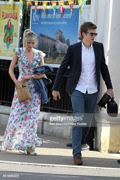Greg James seen arriving at Fearne Cotton and Jesse Wood's wedding reception on July 4 2014 in London England