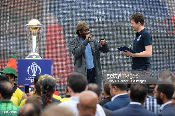 Greg James speaks to Caleb Femi during a 2019 Cricket World Cup countdown event at 93 Feet East London