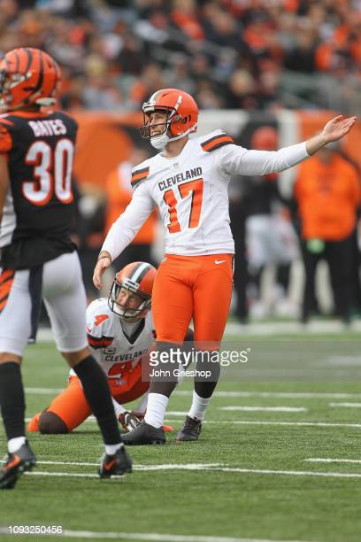 Greg Joseph of the Cleveland Browns connects with the kick during the game against the Cincinnati Bengals at Paul Brown Stadium on November 25 2018...
