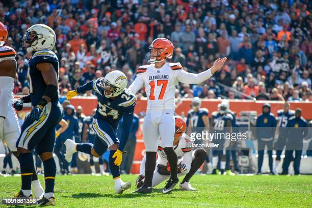 Greg Joseph of the Cleveland Browns watches after kicking a field goal in the second half against the Los Angeles Chargers at FirstEnergy Stadium on...