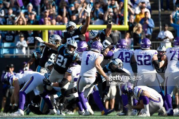 Greg Joseph of the Minnesota Vikings misses the field goal during the fourth quarter against the Carolina Panthersat Bank of America Stadium on...