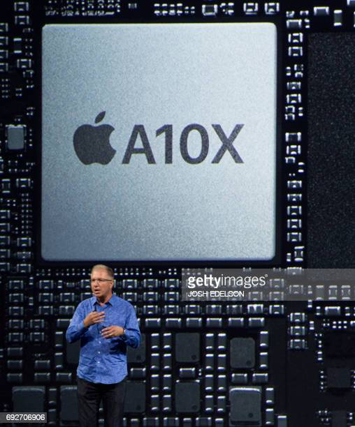 Greg Joswiak Vice President of iPod iPhone and iOS Product Marketing for Apple speaks on stage at San Jose McEnery Convention Center during Apple's...