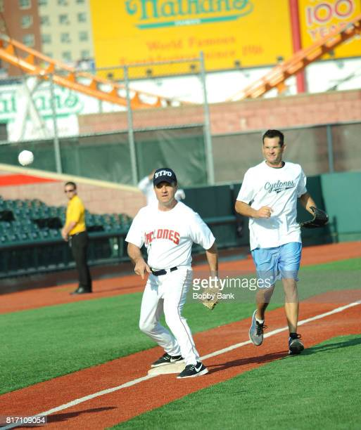 Greg Kelly and Duke Castiglione of Good Day New York attend the NYPD Holds Fundraiser For Slain Officer Miosotis Familia at MCU Park in Coney Island...