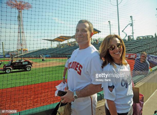 Greg Kelly and Rosanna Scotto hosts of Good Day New York attends the NYPD Holds Fundraiser For Slain Officer Miosotis Familia at MCU Park in Coney...