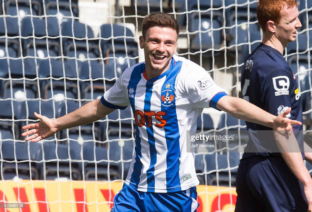 Greg Kiltie celebrates his goal for Kilmarnock at the Scottish premiership match between Kilmarnock and Ross County at Rugby Park on May 23, 2015 in Kilmarnock, Scotland.