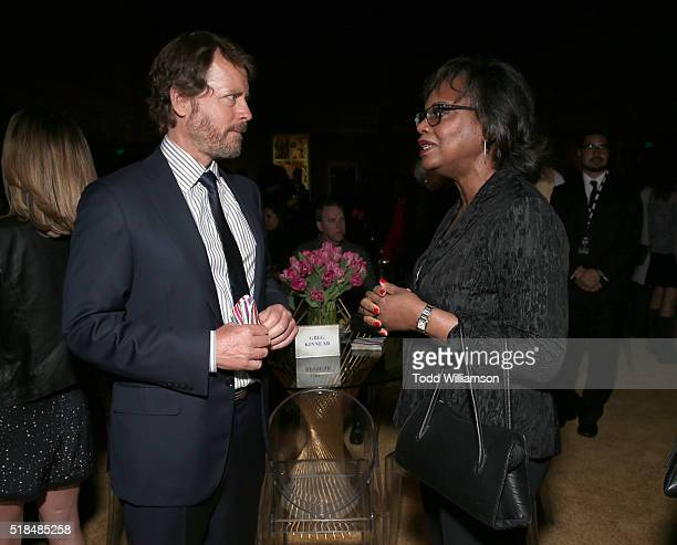 "Greg Kinnear and Anita Hill attend the after party for the premiere of HBO Films' ""Confirmation"" at Paramount Studios on March 31, 2016 in Hollywood,..."