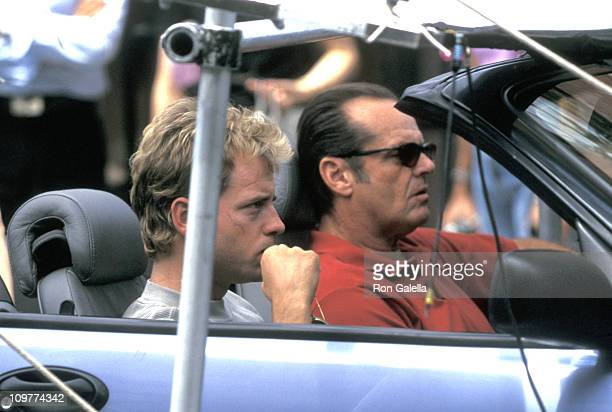 """Greg Kinnear and Jack Nicholson during Jack Nicholson, Helen Hunt and Greg Kinnear on Location for """"As Good As It Gets"""" - June 30, 1997 at 12th & 5th..."""