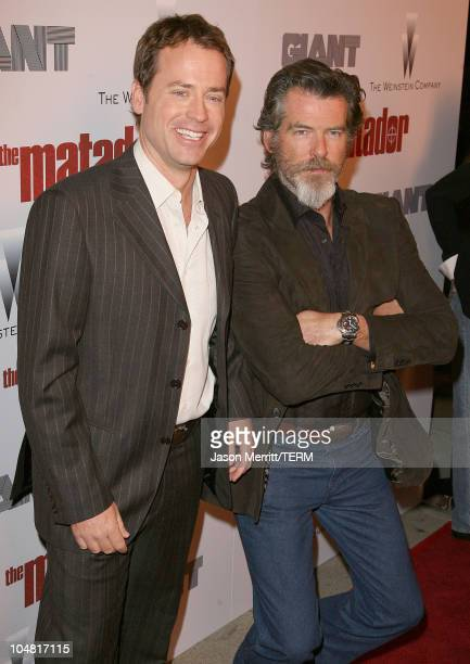 Greg Kinnear and Pierce Brosnan during The Weinstein Company's The Matador Los Angeles Premiere Arrivals at Westwood Crest Theater in Westwood...
