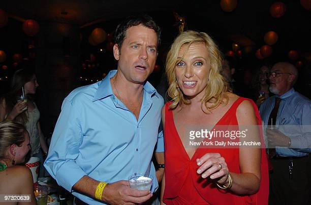 Greg Kinnear and Toni Collette get together at the afterparty following the New York premiere of the movie Little Miss Sunshine at the 79th St Boat...