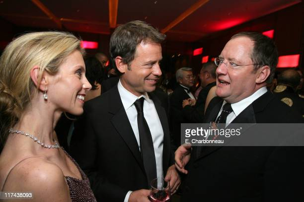 Greg Kinnear, John Lasseter and guest during 2007 Vanity Fair Oscar Party Hosted by Graydon Carter - Inside at Mortons in West Hollywood, California,...
