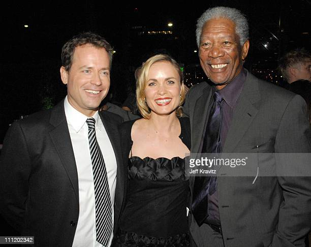 Greg Kinnear Radha Mitchell and Morgan Freeman at the Feast of Love after party at The Academy of Motion Picture Arts and Sciences on September 25...