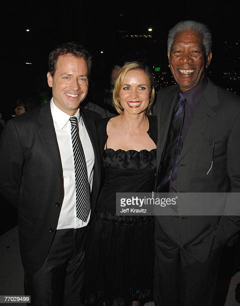 """Greg Kinnear, Radha Mitchell and Morgan Freeman at the """"Feast of Love"""" after party at The Academy of Motion Picture Arts and Sciences on September..."""
