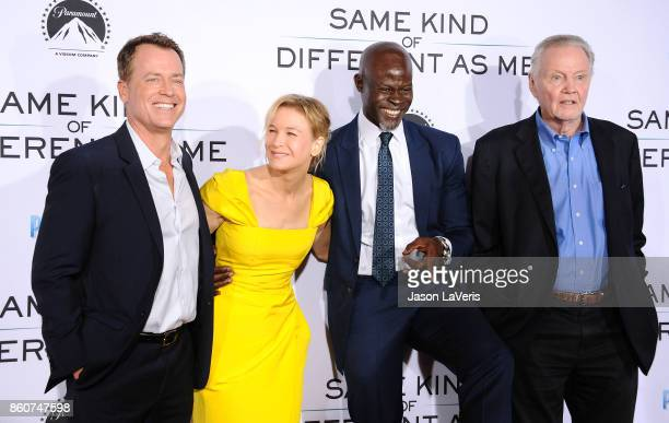 """Greg Kinnear, Renee Zellweger, Djimon Hounsou and Jon Voight attend the premiere of """"Same Kind of Different as Me"""" at Westwood Village Theatre on..."""