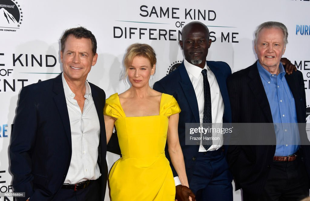 Greg Kinnear, Renee Zellweger,Djimon Hounsou; Jon Voight Premiere Of Paramount Pictures And Pure Flix Entertainment's 'Same Kind Of Different As Me' at Westwood Village Theatre on October 12, 2017 in Westwood, California.