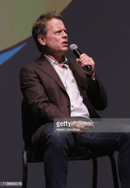 Greg Kinnear speaks on stage during the 2019 Sarasota Film Festival on April 13 2019 in Sarasota Florida