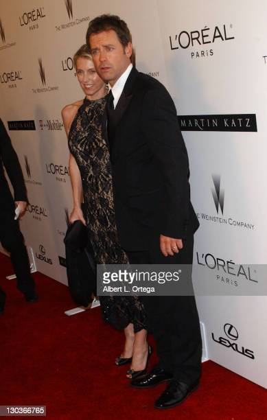 Greg Kinnear with wife during The Weinstein Company's 2007 Golden Globes After Party Arrivals at The Beverly Hilton Hotel in Beverly Hills California...