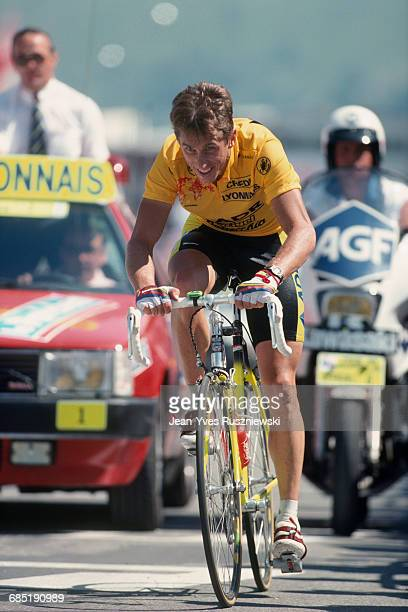 Greg Lemond from the USA at the arrival of stage 17 of the 1989 Tour de France