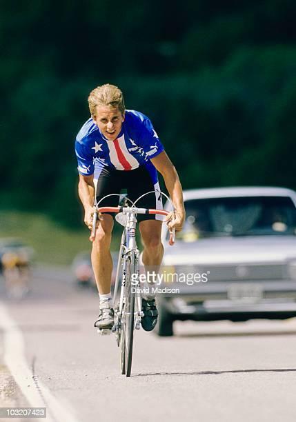 Greg Lemond of the U.S. Trains on the course prior to the 1986 World Cycling Championships road race in September 1986 on the grounds of the U.S. Air...