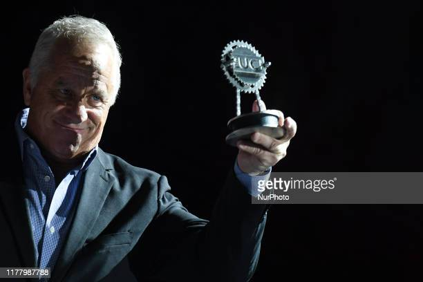 Greg LeMond , receives the UCI Presidents Trophy to celebrate the 30th anniversary of his historical UCI Road World Championships Tour de France...