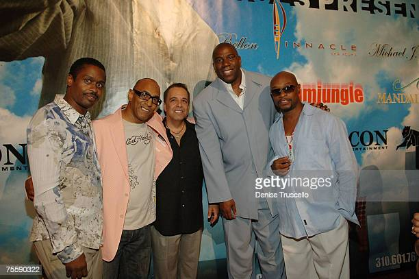 Greg Lites Andre Cleveland Michael Delon professional basketball player Magic Johnson and Filipe Darrell arrive at Winky Wrights official after fight...