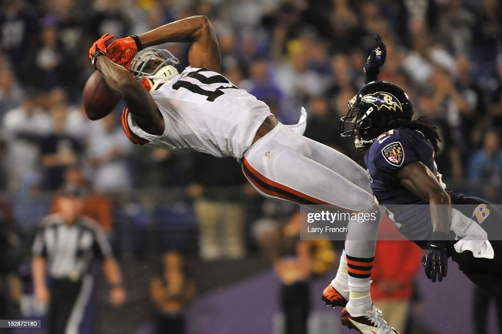 Greg Little #15 of the Cleveland Browns can't make this endzone catch against the Baltimore Ravens at M&T Bank Stadium on September 27, 2012 in Baltimore, Maryland. The Ravens defeated the Browns 23-16.